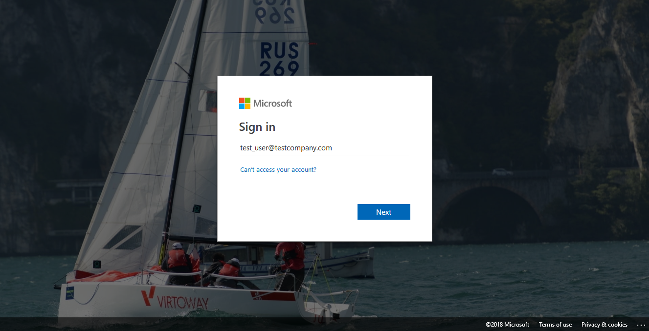 Azure Active Directory sign-in page
