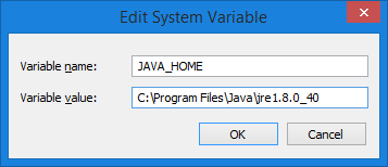Add the JAVA_HOME variable to OS
