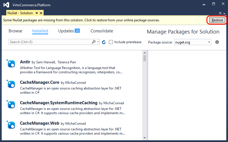 Restore NuGet packages for solution