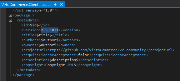 custom API client .nuspec file content example