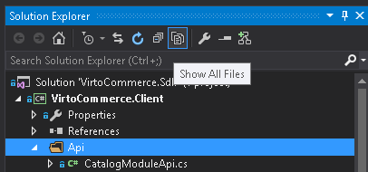 Show all files for Client project